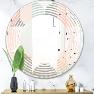 Designart 'Retro Pastel Circular Pattern II' Modern Round or Oval Wall Mirror - Wave