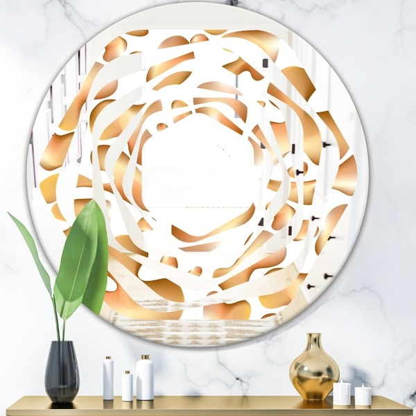 Designart 'Liquid Gold I' Modern Round or Oval Wall Mirror - Whirl
