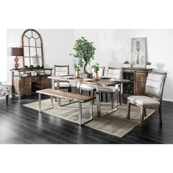 Furniture of America Bith Rustic Oak 6-piece Dining Table Set w/ Bench