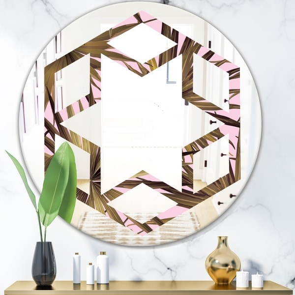 Designart 'Tropical Leaves On Pink' Modern Round or Oval Wall Mirror - Hexagon Star