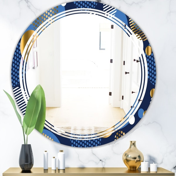 Designart 'Circular Abstract Retro Geometric XI' Modern Round or Oval Wall Mirror - Triple C