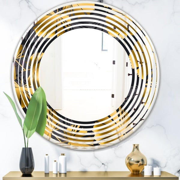 Designart 'Golden Palm Leaves III' Modern Round or Oval Wall Mirror - Wave