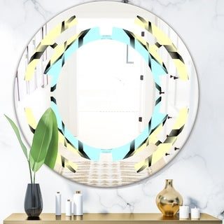 Designart 'Black and White Fashion Ornament' Modern Round or Oval Wall Mirror - Space