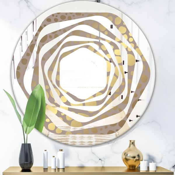 Designart 'Golden Marble Design III' Modern Round or Oval Wall Mirror - Whirl