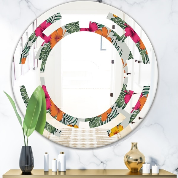 Designart 'Retro tropical Leaves III' Cottage Round or Oval Wall Mirror - Space