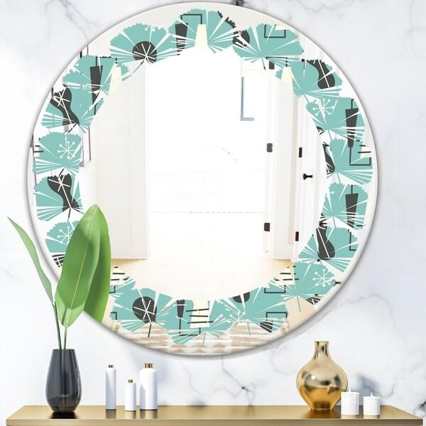 Designart '1950 Retro Pattern II' Modern Round or Oval Wall Mirror - Leaves