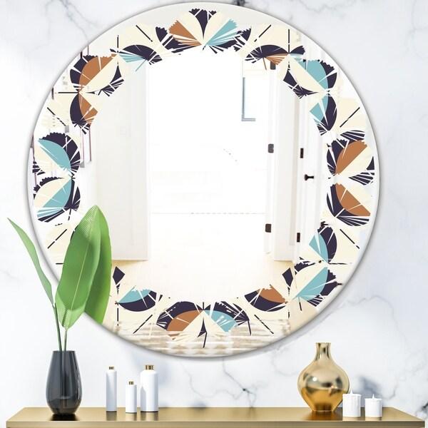 Designart 'Geometric Retro Design V' Modern Round or Oval Wall Mirror - Leaves
