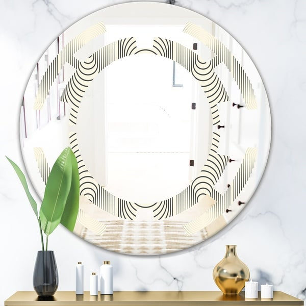 Designart 'Monochrome Geometric Pattern X' Modern Round or Oval Wall Mirror - Space