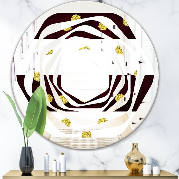 Designart 'Gold Polka Dot Pattern I' Modern Round or Oval Wall Mirror - Whirl