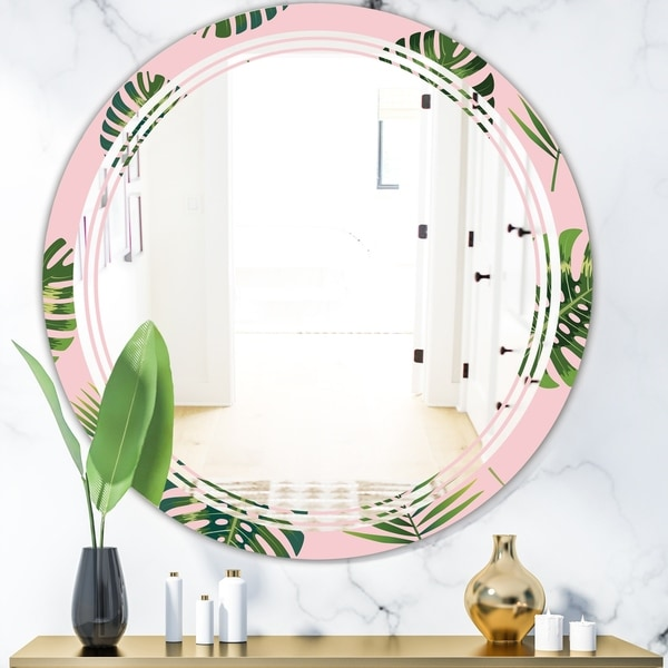 Designart 'Palm Tropical leaves pattern.' Modern Round or Oval Wall Mirror - Triple C