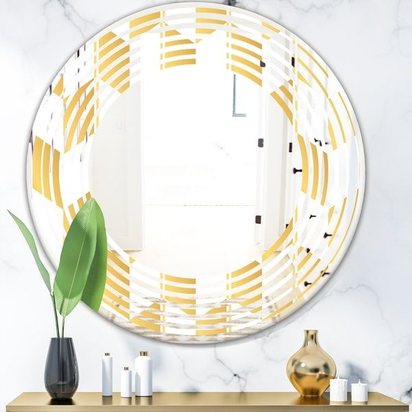Designart 'Gold and White Geometric Pattern I' Modern Round or Oval Wall Mirror - Wave