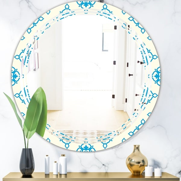 Designart 'Retro Ornamental Pattern I' Modern Round or Oval Wall Mirror - Triple C