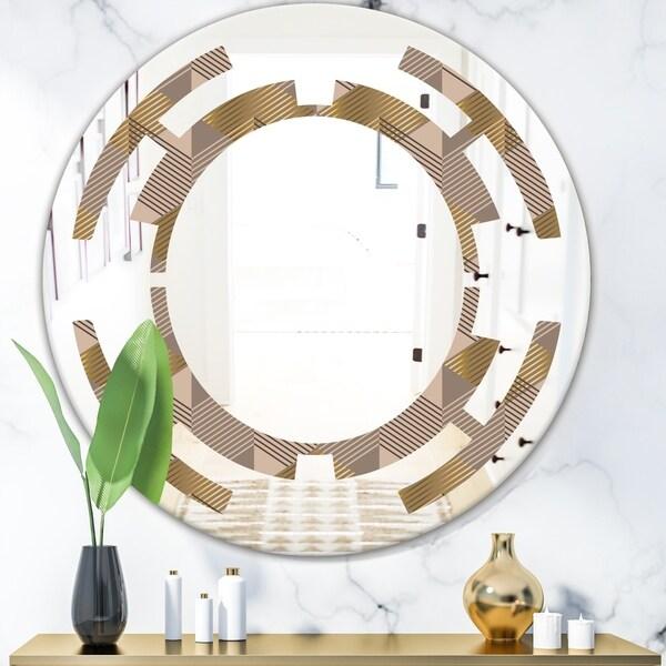 Designart 'Retro Square Design VI' Modern Round or Oval Wall Mirror - Space