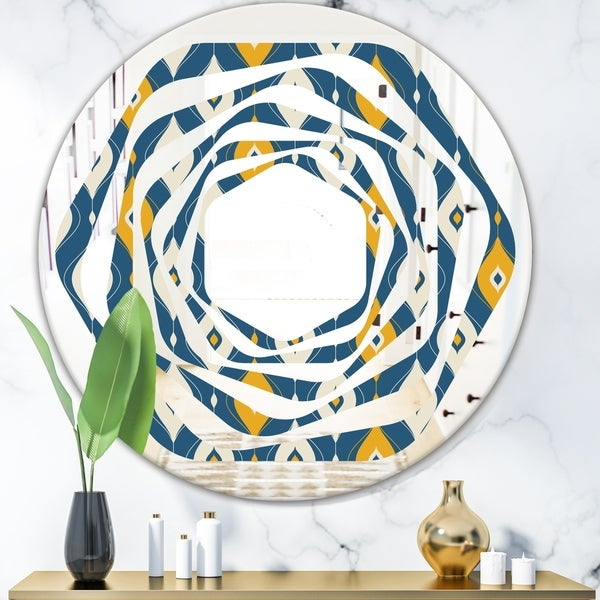 Designart 'Retro Abstract Pattern II' Modern Round or Oval Wall Mirror - Whirl