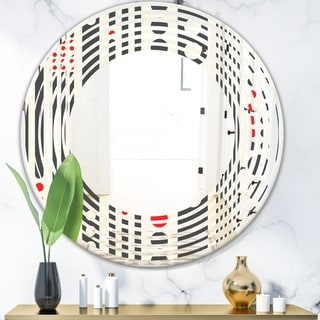 Designart 'Retro Geometrical Abstract Minimal Pattern II' Modern Round or Oval Wall Mirror - Wave