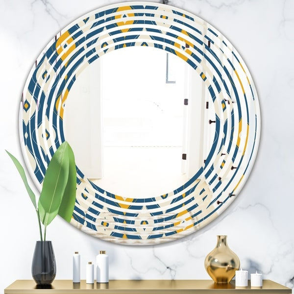 Designart 'Retro Abstract Pattern II' Modern Round or Oval Wall Mirror - Wave
