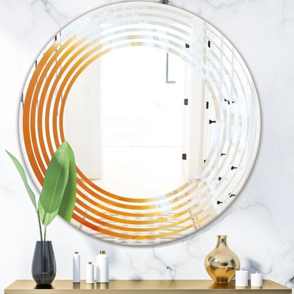 Designart 'True Yellow Stone' Modern Round or Oval Wall Mirror - Wave