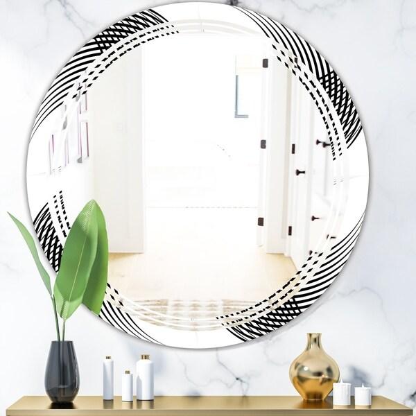 Designart 'Monochrome Geometric Pattern IX' Modern Round or Oval Wall Mirror - Triple C