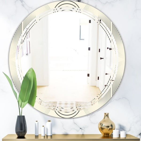 Designart 'Monochrome Geometric Pattern X' Modern Round or Oval Wall Mirror - Triple C