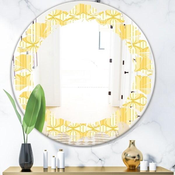 Designart 'Retro Ornamental Design III' Modern Round or Oval Wall Mirror - Leaves