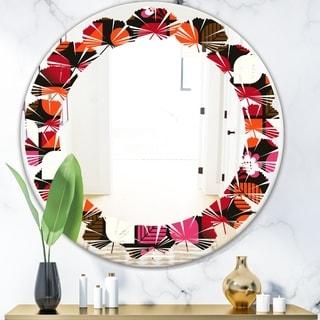 Designart 'Geometric Retro Flower Design I' Modern Round or Oval Wall Mirror - Leaves
