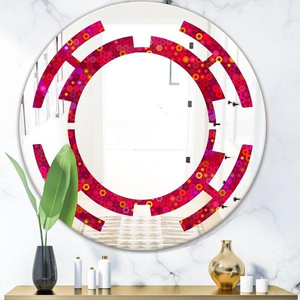 Designart 'Circular Retro Design III' Modern Round or Oval Wall Mirror - Space