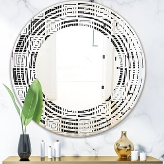 Designart 'Monochrome Geometric Pattern XI' Modern Round or Oval Wall Mirror - Wave