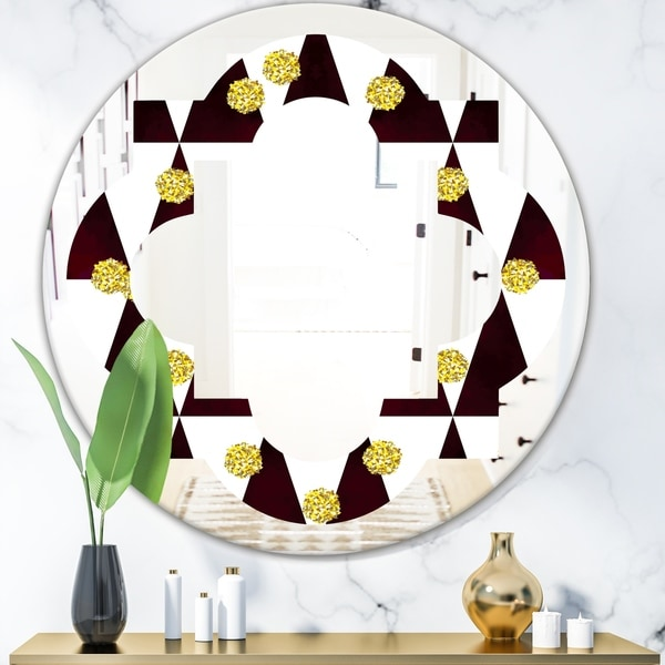 Designart 'Gold Polka Dot Pattern II' Modern Round or Oval Wall Mirror - Quatrefoil