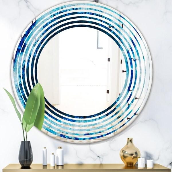 Designart 'Brazilian Thunder Egg' Modern Round or Oval Wall Mirror - Wave