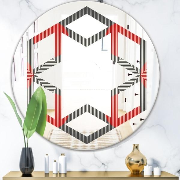 Designart 'Modern Circle and Line Geometric Pattern' Modern Round or Oval Wall Mirror - Hexagon Star
