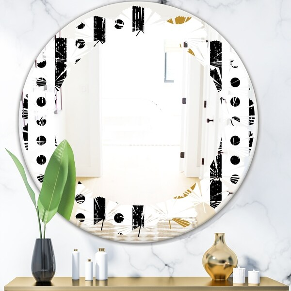 Designart 'Retro Geometrical Abstract Minimal Pattern VII' Modern Round or Oval Wall Mirror - Leaves