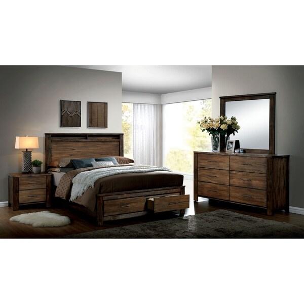 Furniture of America Syla Transitional Oak Queen 3-piece Bedroom Set