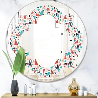 Designart 'Retro Abstract Pattern Design II' Modern Round or Oval Wall Mirror - Quatrefoil