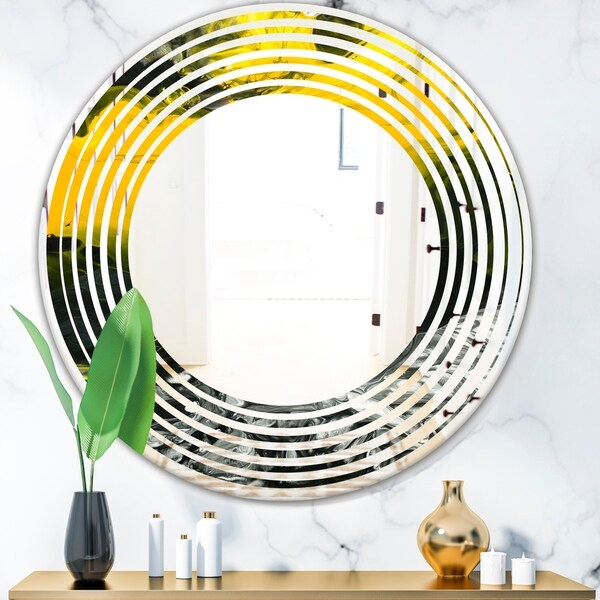 Designart 'Marbled Yellow 4' Modern Round or Oval Wall Mirror - Wave