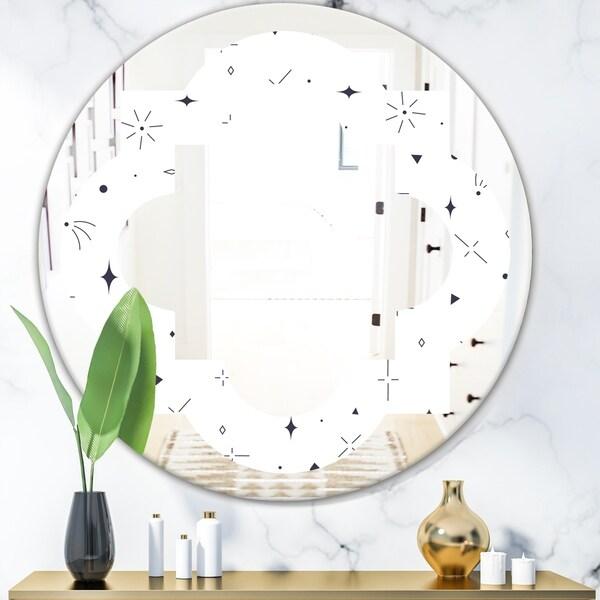 Designart 'Golden Geometrical Diamond Pattern III' Modern Round or Oval Wall Mirror - Quatrefoil