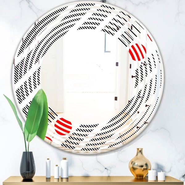 Designart 'Retro Geometrical Abstract Minimal Pattern XI' Modern Round or Oval Wall Mirror - Wave