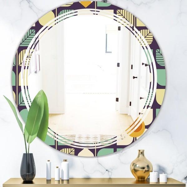 Designart 'Botanical Retro Design III' Modern Round or Oval Wall Mirror - Triple C