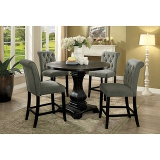 Furniture of America Melby Farmhouse Black 5-Piece Counter Height Table Set
