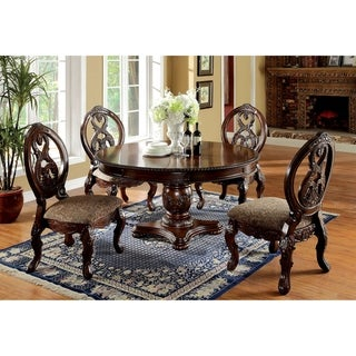 Furniture of America Naiz Traditional Cherry 5-piece Dining Table Set