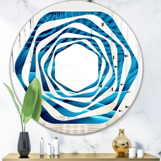 Designart 'Abstract Blue Wavy' Modern Round or Oval Wall Mirror - Whirl