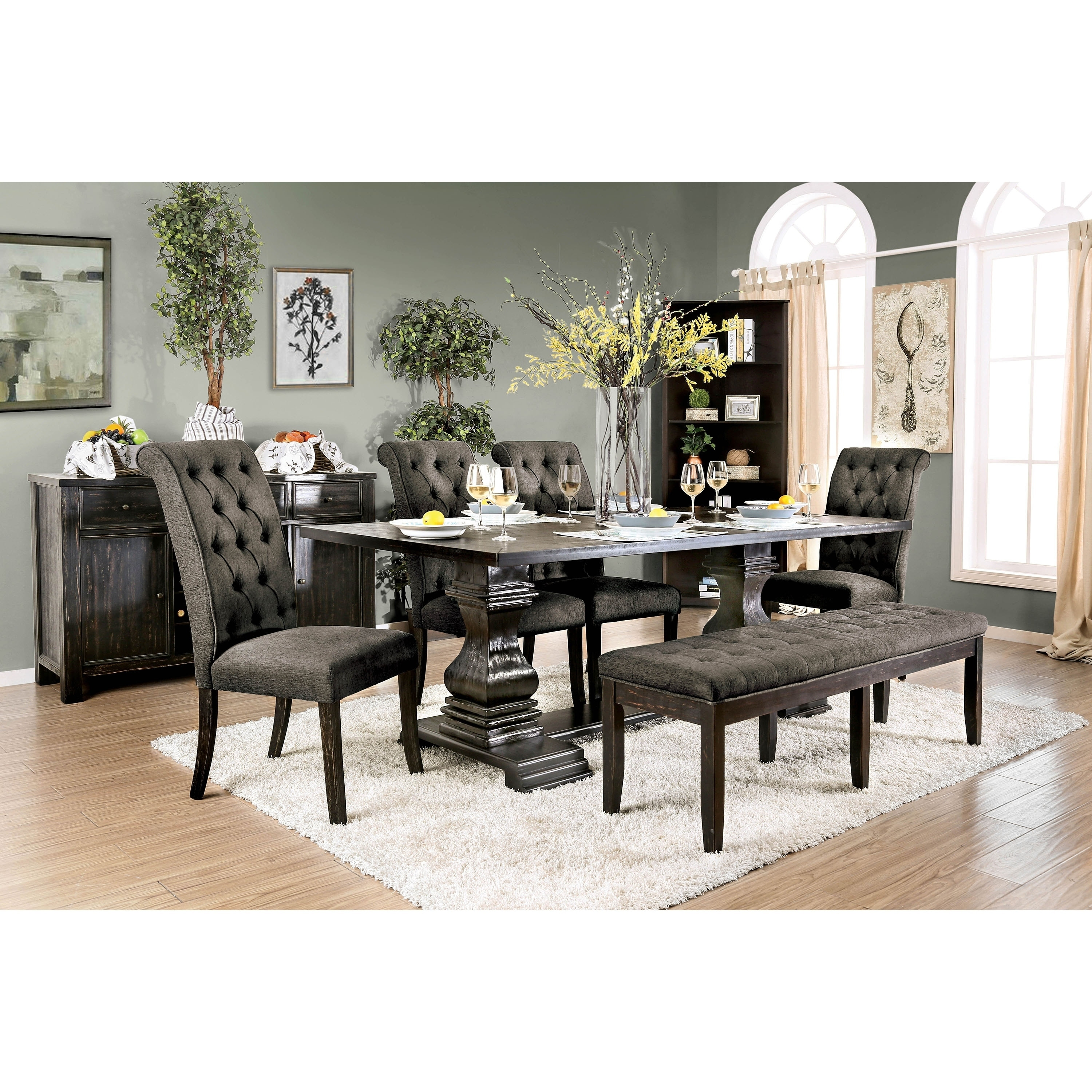 Furniture Of America Melta Rustic Black 6 Piece Dining Table Set With Bench Overstock 29844369