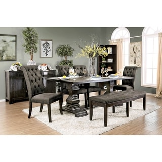Furniture of America Melta Rustic Black 6-Piece Dining Table Set with Bench