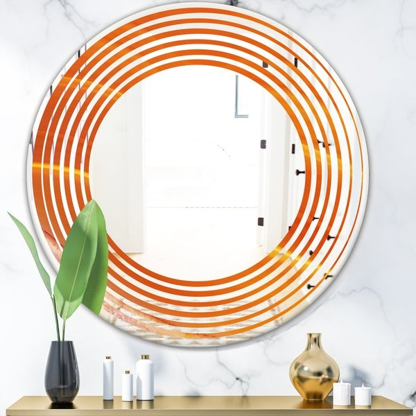 Designart 'Brown agate in Wave pattern' Modern Round or Oval Wall Mirror - Wave