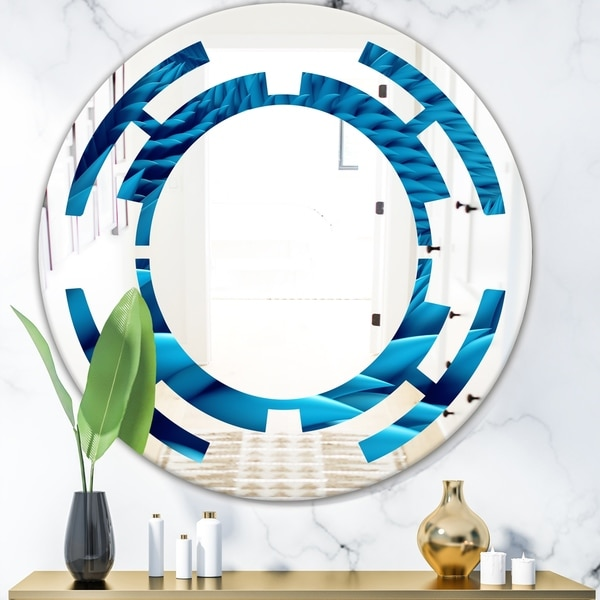 Designart 'Abstract Blue Wavy' Modern Round or Oval Wall Mirror - Space