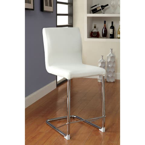 Furniture of America Raji Contemporary Faux Leather Pub Chairs (Set of 2)