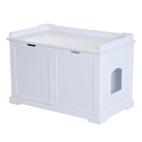 PawHut Wooden Covered Cat Litter Box End Table Hideaway With Storage Cabinet - White