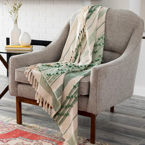 "Edelo Global Hand Woven 50"" x 60"" Cotton-Blend Throw"