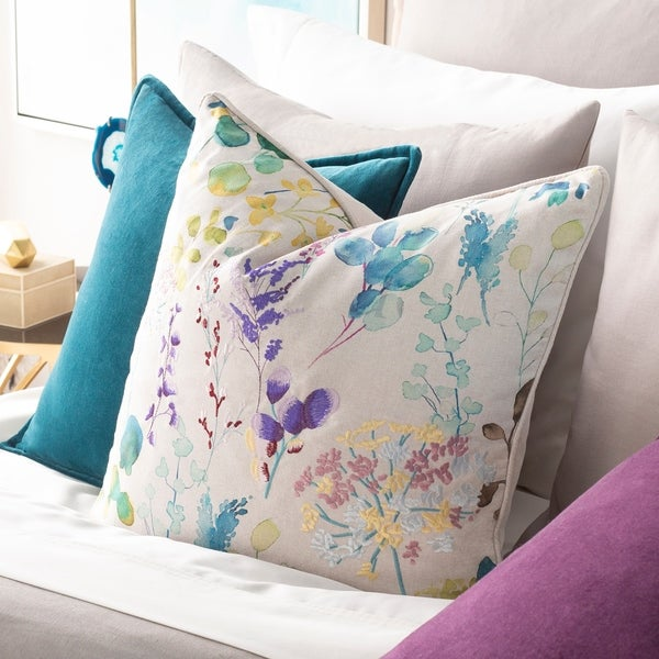 Fiore Embroidered Floral 18-inch Poly or Feather Down Throw Pillow