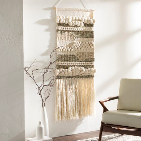 """Sephare Hand Woven Wool and Viscose 24"""" x 42"""" inch Bohemian/Global Tapestry - 24"""" x 42"""""""
