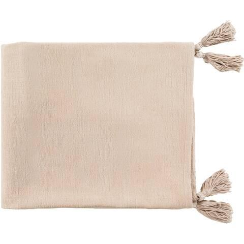 "Priya Modern Woven 50"" x 60"" Chenille Cotton Throw"